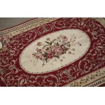 4' X 6' NEW Woolen Handmade Dull Red Needlepoint Area Rug OLD VINTAGE Design